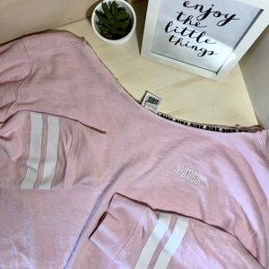 PINK Cropped Sweater Baseball Sleeve
